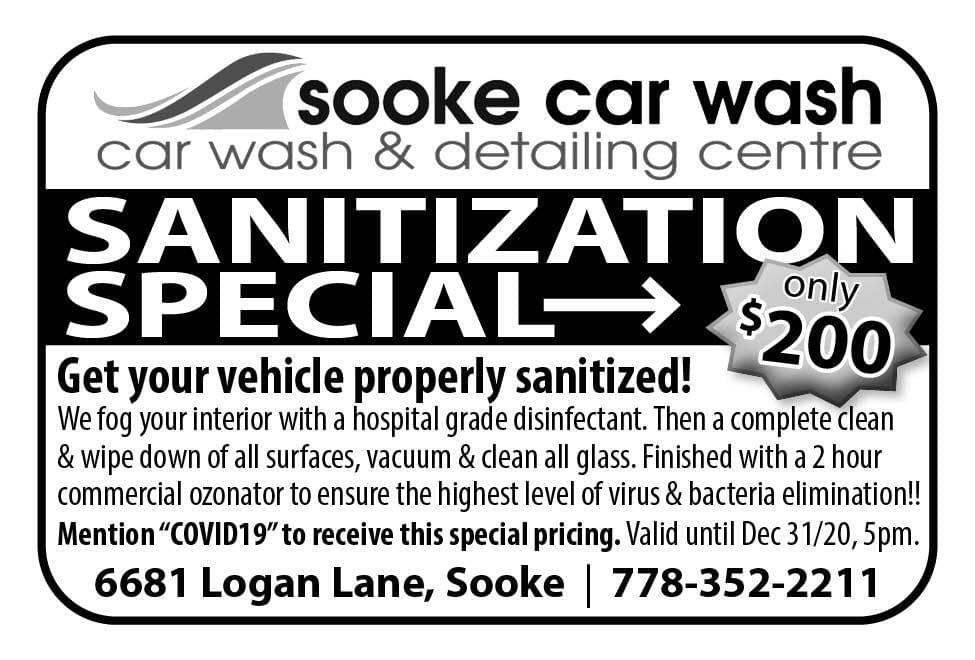 Sooke Car Wash Ad in Coffee News
