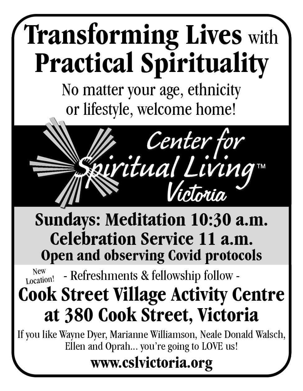Center for Spiritual Living Ad in Coffee News
