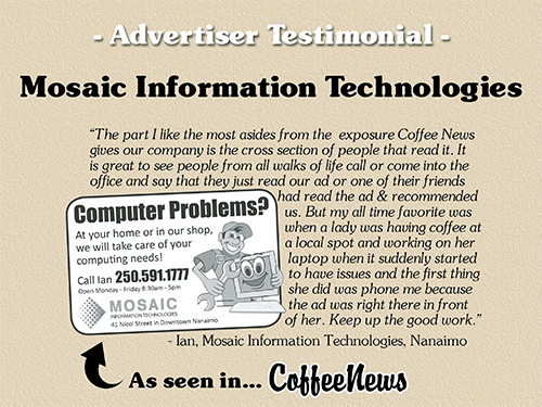 Mosaic Information Technologies testimonial in Coffee News