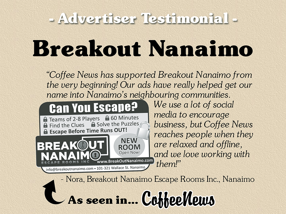 Breakout Nanaimo testimonial in Coffee News