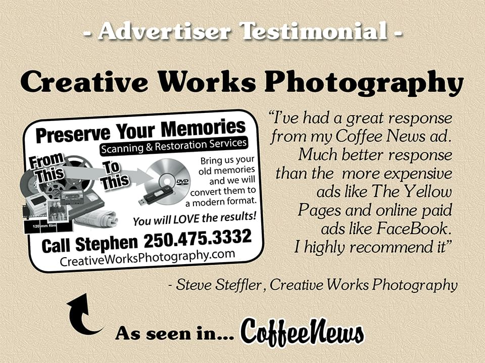 Creative Works Photography testimonial in Coffee News