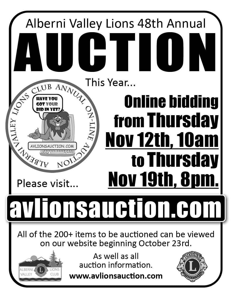 AV Lions Club Auction Ad in Coffee News