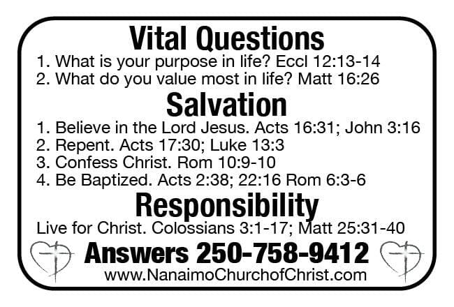 Nanaimo Church of Christ Ad in Coffee News
