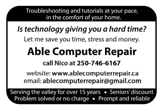 Able Computer Repair Ad in Coffee News