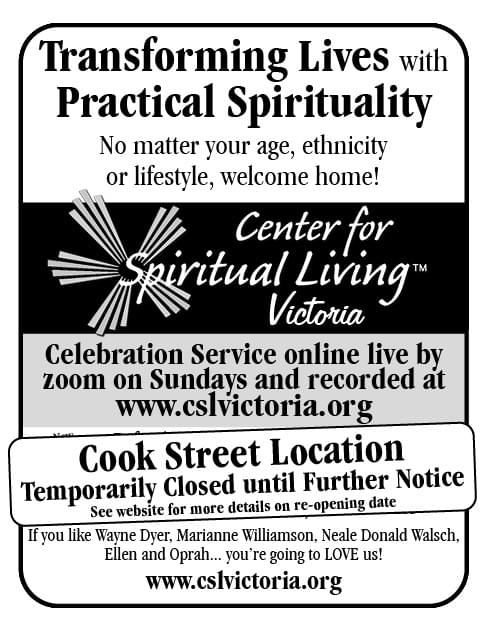 Center for Spiritual Living Victoria Ad in Coffee News