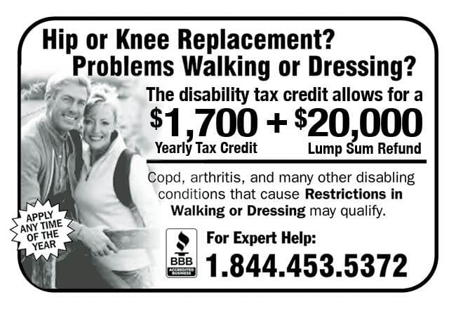 Hip or Knee Replacement Ad in Coffee News