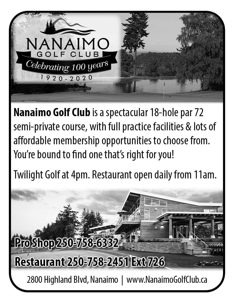 Nanaimo Golf Club Ad in Coffee News