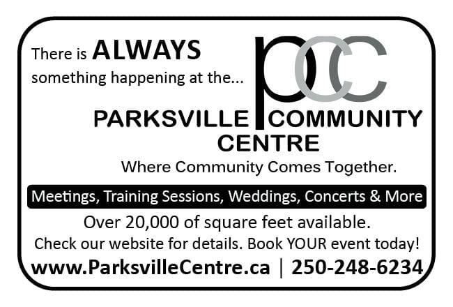 Parksville Community Centre Ad in Coffee News
